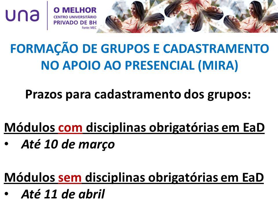 Prazos para cadastramento dos grupos: Módulos com disciplinas obrigatórias em EaD Até 10 de março Módulos sem disciplinas obrigatórias em EaD Até 11 d