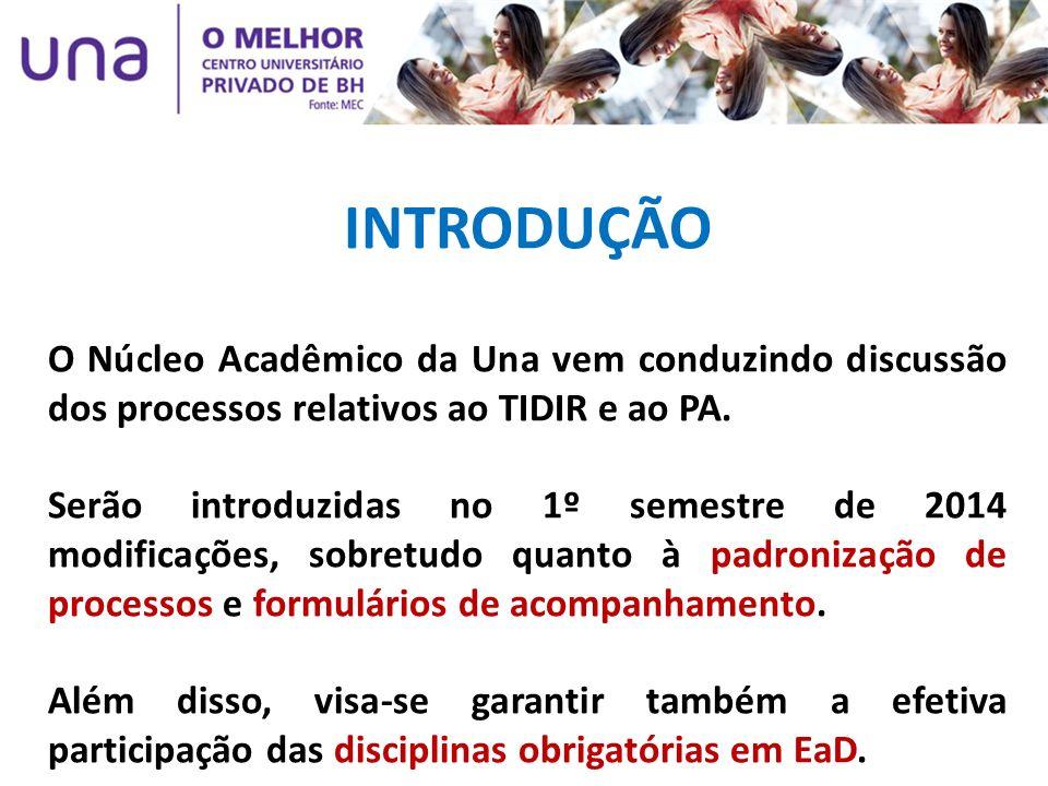 INTRODUÇÃO O Núcleo Acadêmico da Una vem conduzindo discussão dos processos relativos ao TIDIR e ao PA. Serão introduzidas no 1º semestre de 2014 modi