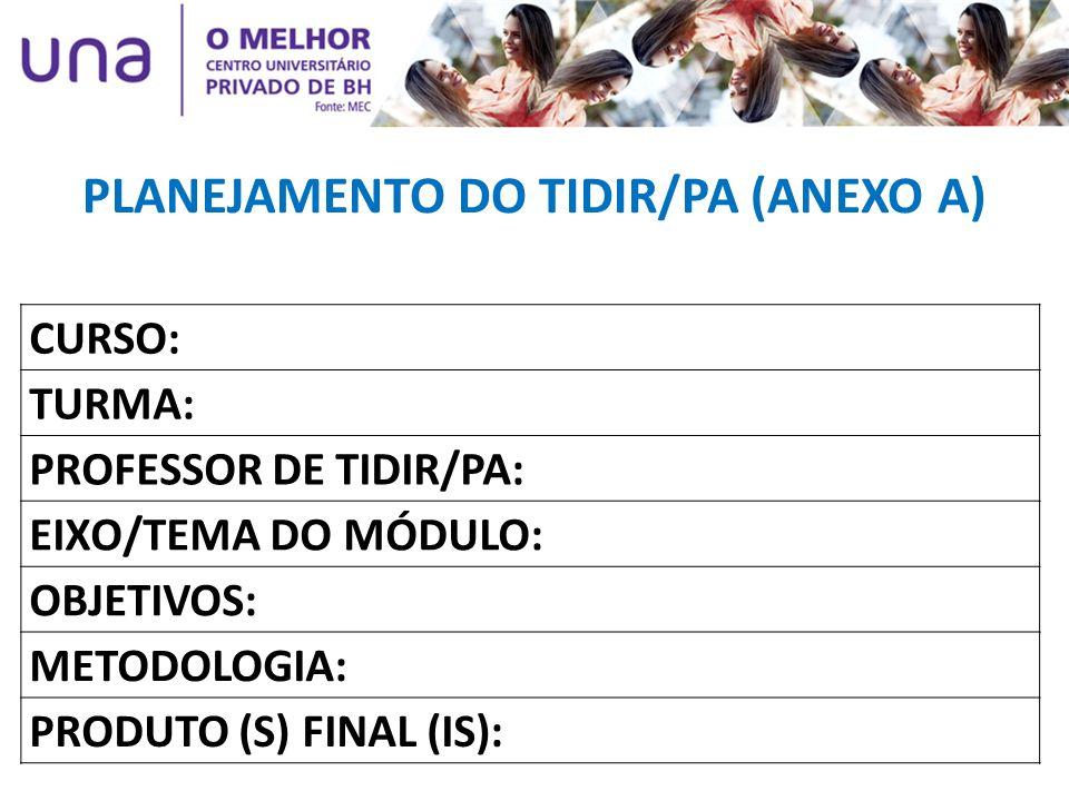PLANEJAMENTO DO TIDIR/PA (ANEXO A) CURSO: TURMA: PROFESSOR DE TIDIR/PA: EIXO/TEMA DO MÓDULO: OBJETIVOS: METODOLOGIA: PRODUTO (S) FINAL (IS):