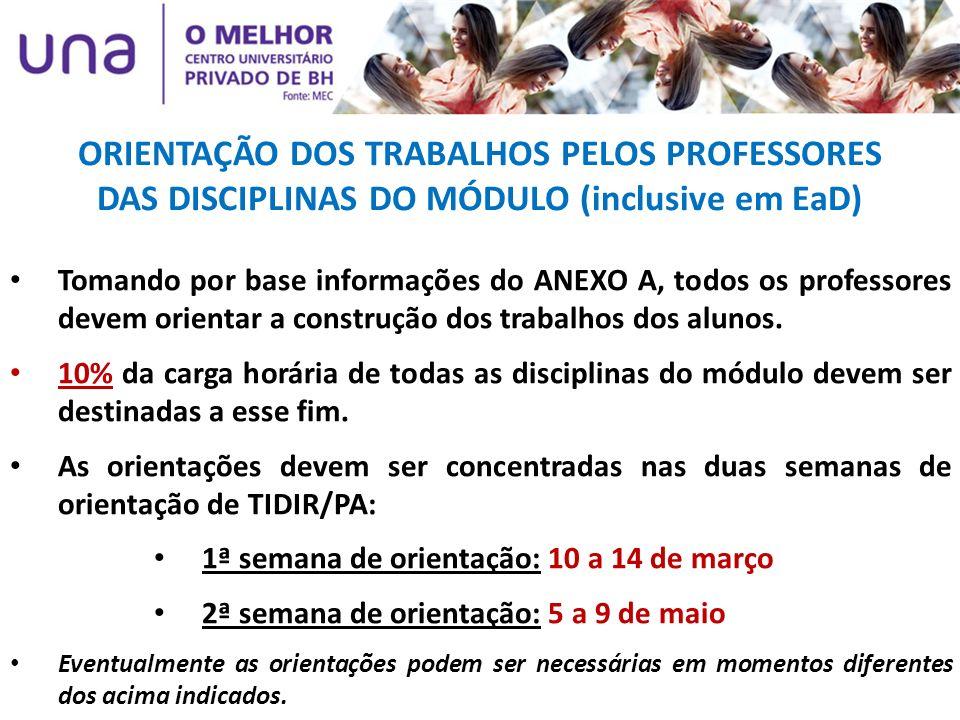 ORIENTAÇÃO DOS TRABALHOS PELOS PROFESSORES DAS DISCIPLINAS DO MÓDULO (inclusive em EaD) Tomando por base informações do ANEXO A, todos os professores