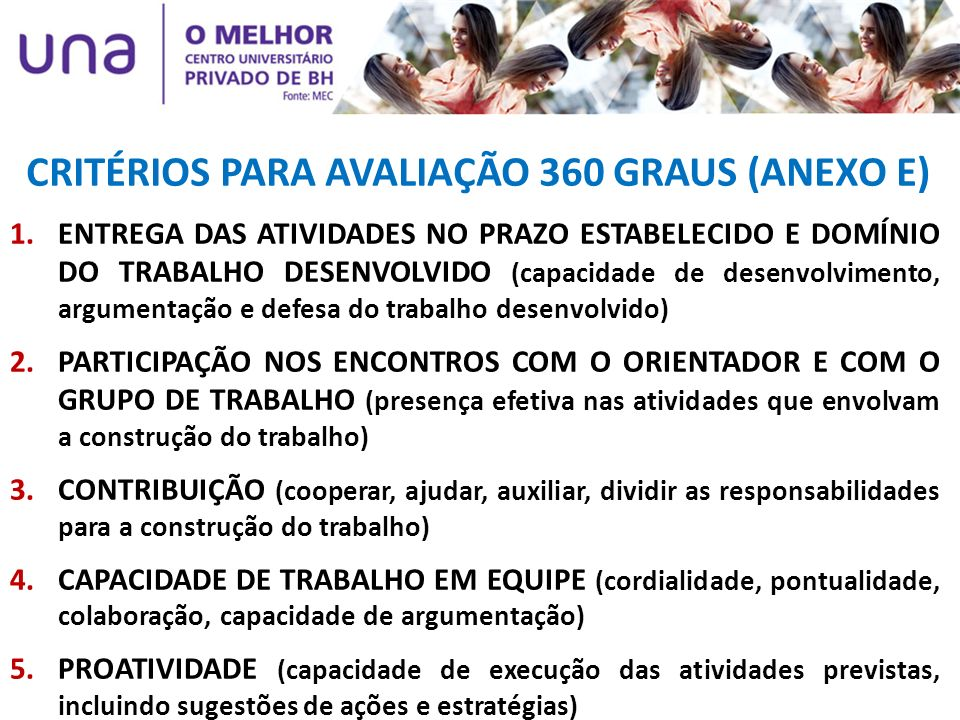 CRITÉRIOS PARA AVALIAÇÃO 360 GRAUS (ANEXO E) 1.ENTREGA DAS ATIVIDADES NO PRAZO ESTABELECIDO E DOMÍNIO DO TRABALHO DESENVOLVIDO (capacidade de desenvol