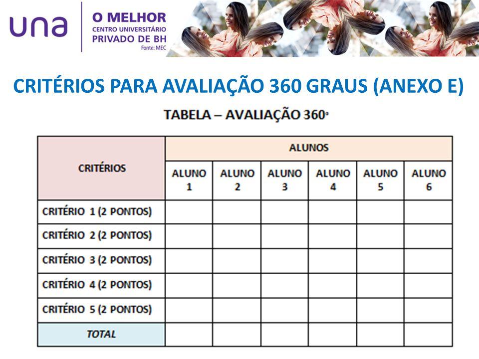 CRITÉRIOS PARA AVALIAÇÃO 360 GRAUS (ANEXO E)