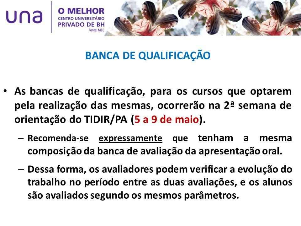 BANCA DE QUALIFICAÇÃO As bancas de qualificação, para os cursos que optarem pela realização das mesmas, ocorrerão na 2ª semana de orientação do TIDIR/