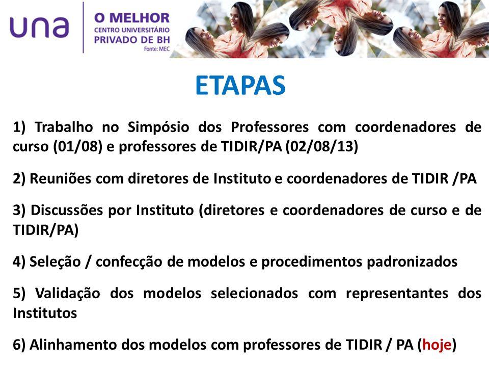 ETAPAS 1) Trabalho no Simpósio dos Professores com coordenadores de curso (01/08) e professores de TIDIR/PA (02/08/13) 2) Reuniões com diretores de In
