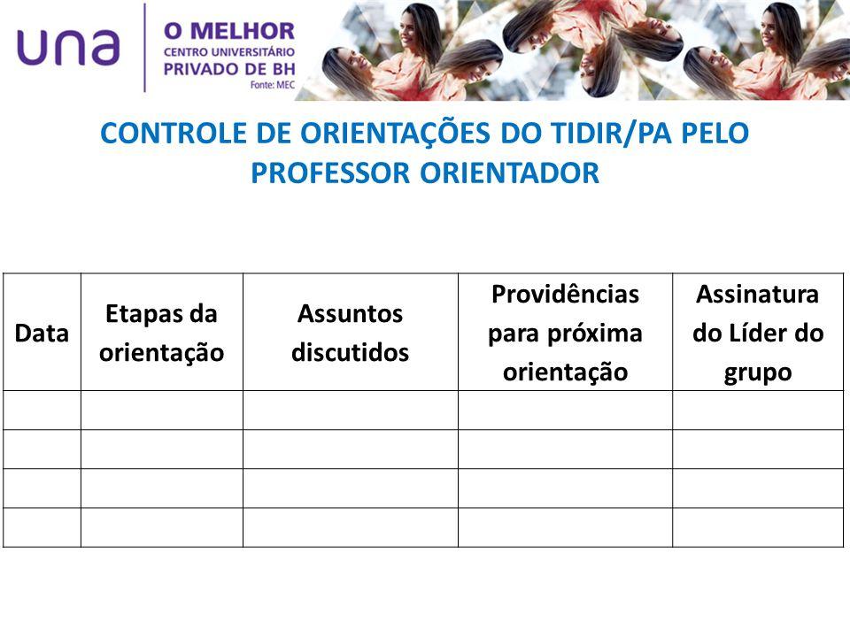 Data Etapas da orientação Assuntos discutidos Providências para próxima orientação Assinatura do Líder do grupo CONTROLE DE ORIENTAÇÕES DO TIDIR/PA PE