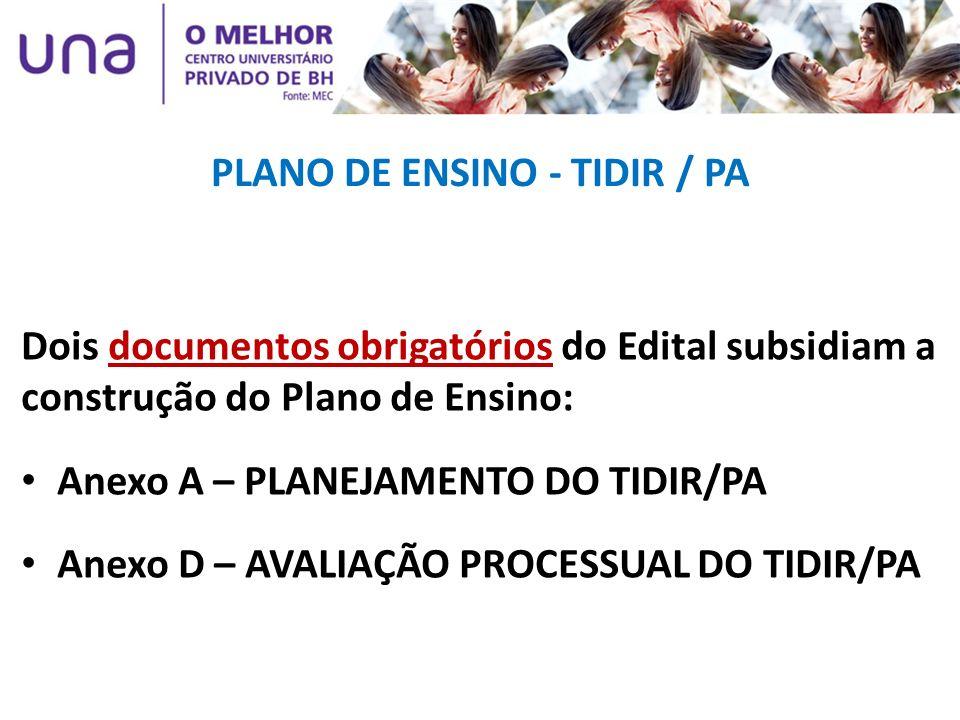 PLANO DE ENSINO - TIDIR / PA Dois documentos obrigatórios do Edital subsidiam a construção do Plano de Ensino: Anexo A – PLANEJAMENTO DO TIDIR/PA Anex