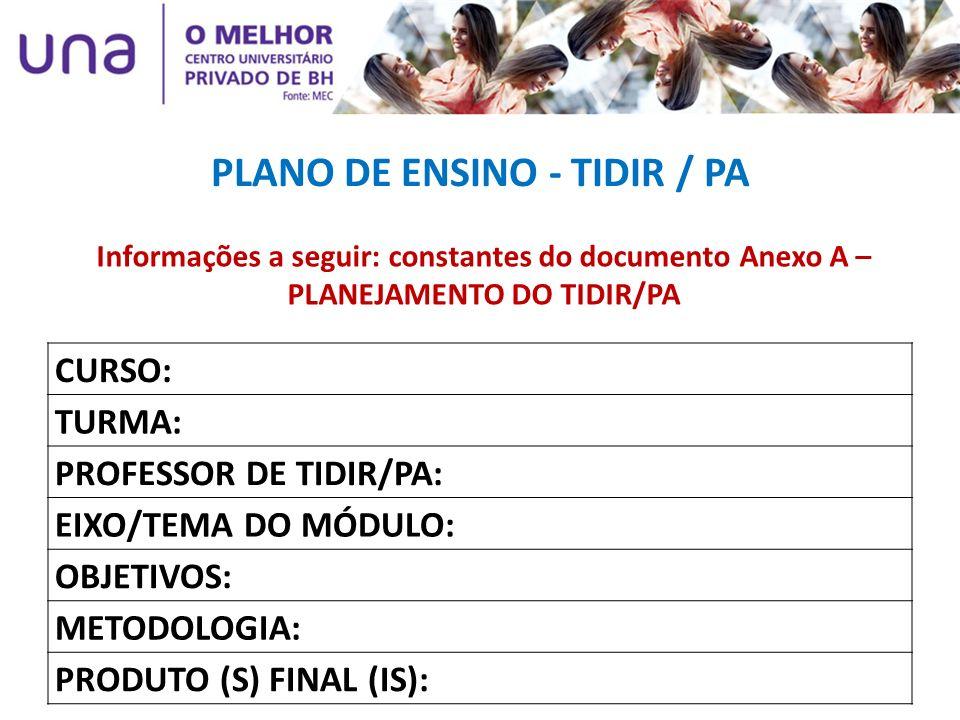 PLANO DE ENSINO - TIDIR / PA CURSO: TURMA: PROFESSOR DE TIDIR/PA: EIXO/TEMA DO MÓDULO: OBJETIVOS: METODOLOGIA: PRODUTO (S) FINAL (IS): Informações a s