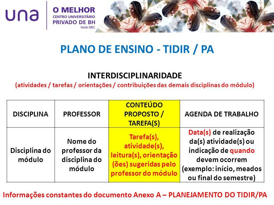 INTERDISCIPLINARIDADE (atividades / tarefas / orientações / contribuições das demais disciplinas do módulo) DISCIPLINAPROFESSOR CONTEÚDO PROPOSTO / TA