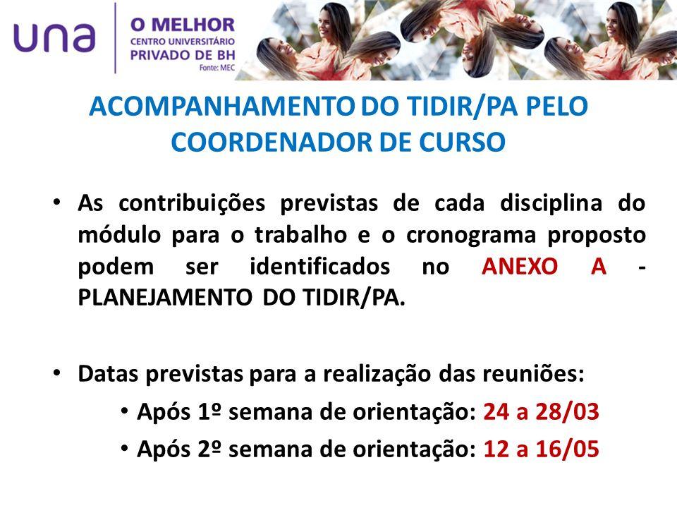 ACOMPANHAMENTO DO TIDIR/PA PELO COORDENADOR DE CURSO As contribuições previstas de cada disciplina do módulo para o trabalho e o cronograma proposto p
