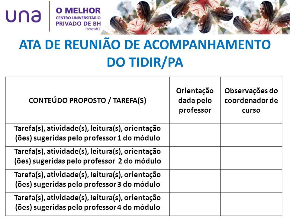 ATA DE REUNIÃO DE ACOMPANHAMENTO DO TIDIR/PA CONTEÚDO PROPOSTO / TAREFA(S) Orientação dada pelo professor Observações do coordenador de curso Tarefa(s