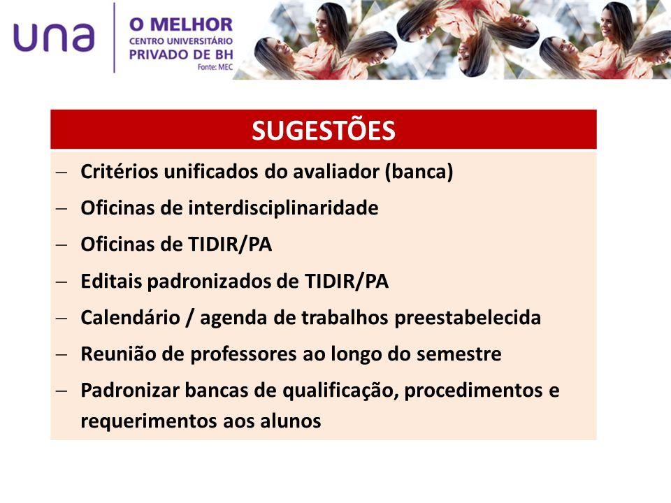 SUGESTÕES Critérios unificados do avaliador (banca) Oficinas de interdisciplinaridade Oficinas de TIDIR/PA Editais padronizados de TIDIR/PA Calendário