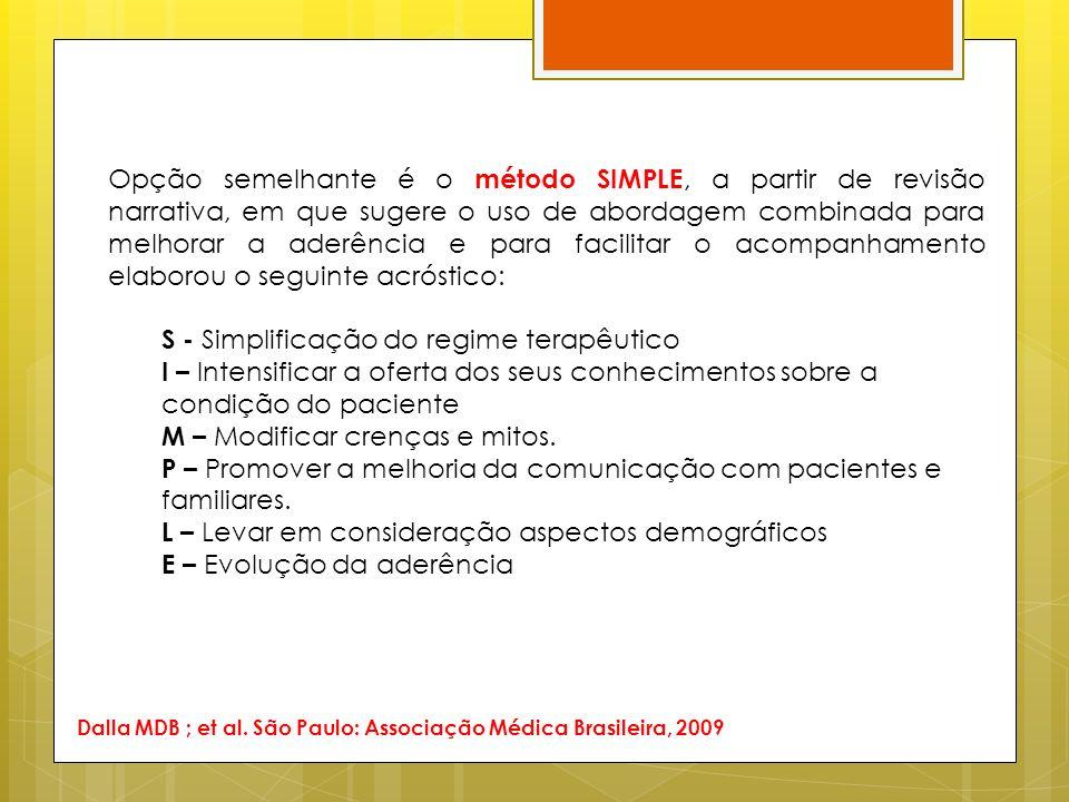 Opção semelhante é o método SIMPLE, a partir de revisão narrativa, em que sugere o uso de abordagem combinada para melhorar a aderência e para facilit