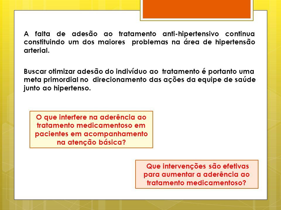O que interfere na aderência ao tratamento medicamentoso em pacientes em acompanhamento na atenção básica? A falta de adesão ao tratamento anti-hipert