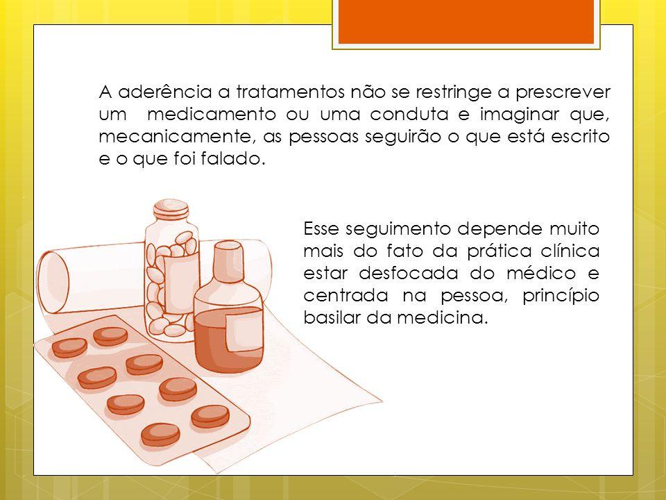 A aderência a tratamentos não se restringe a prescrever um medicamento ou uma conduta e imaginar que, mecanicamente, as pessoas seguirão o que está es