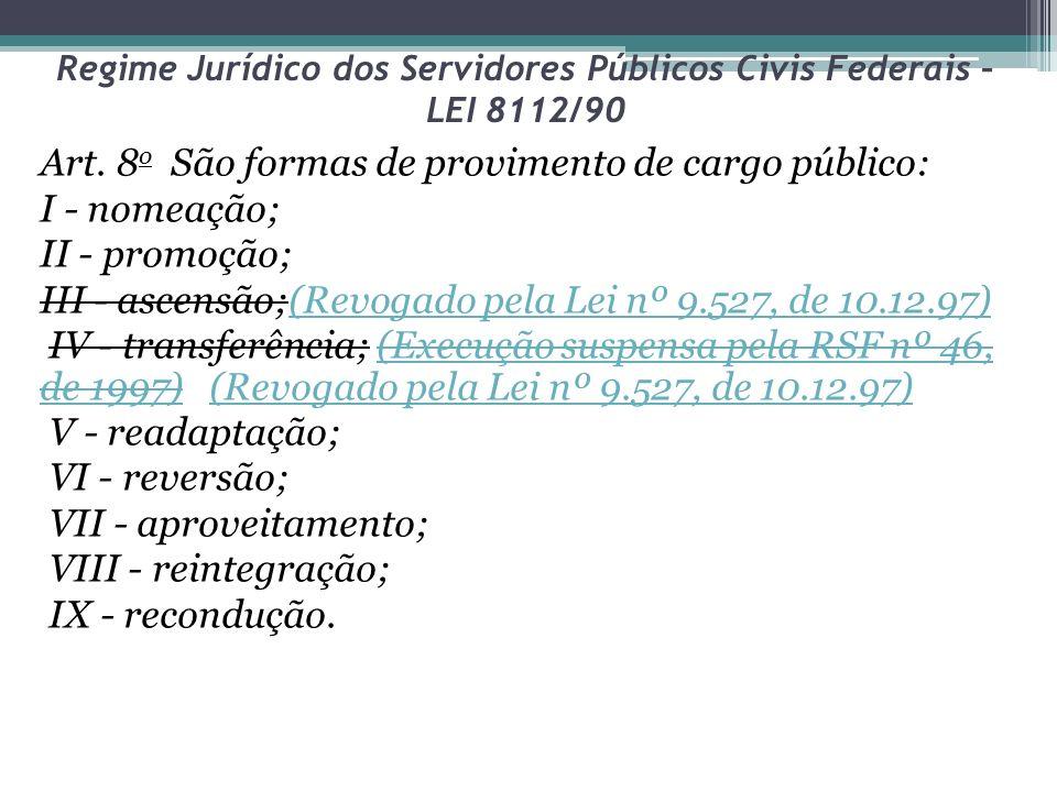 Regime Jurídico dos Servidores Públicos Civis Federais – LEI 8112/90 Art. 8 o São formas de provimento de cargo público: I - nomeação; II - promoção;