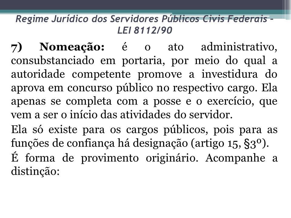 Regime Jurídico dos Servidores Públicos Civis Federais – LEI 8112/90 7) Nomeação: é o ato administrativo, consubstanciado em portaria, por meio do qua