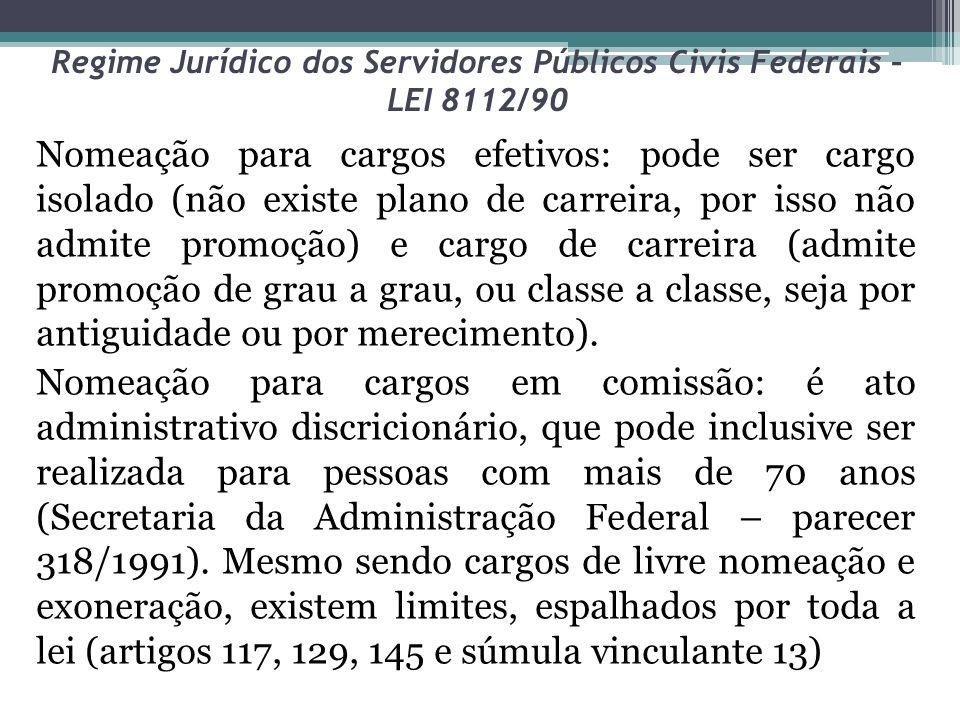 Regime Jurídico dos Servidores Públicos Civis Federais – LEI 8112/90 Nomeação para cargos efetivos: pode ser cargo isolado (não existe plano de carrei
