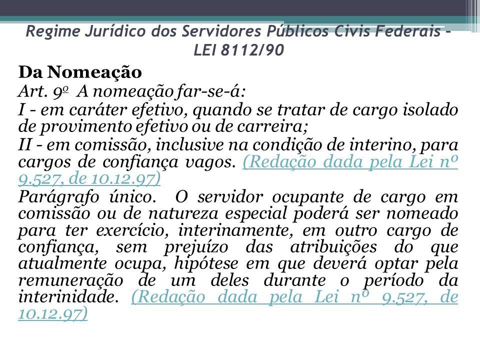 Regime Jurídico dos Servidores Públicos Civis Federais – LEI 8112/90 Da Nomeação Art. 9 o A nomeação far-se-á: I - em caráter efetivo, quando se trata