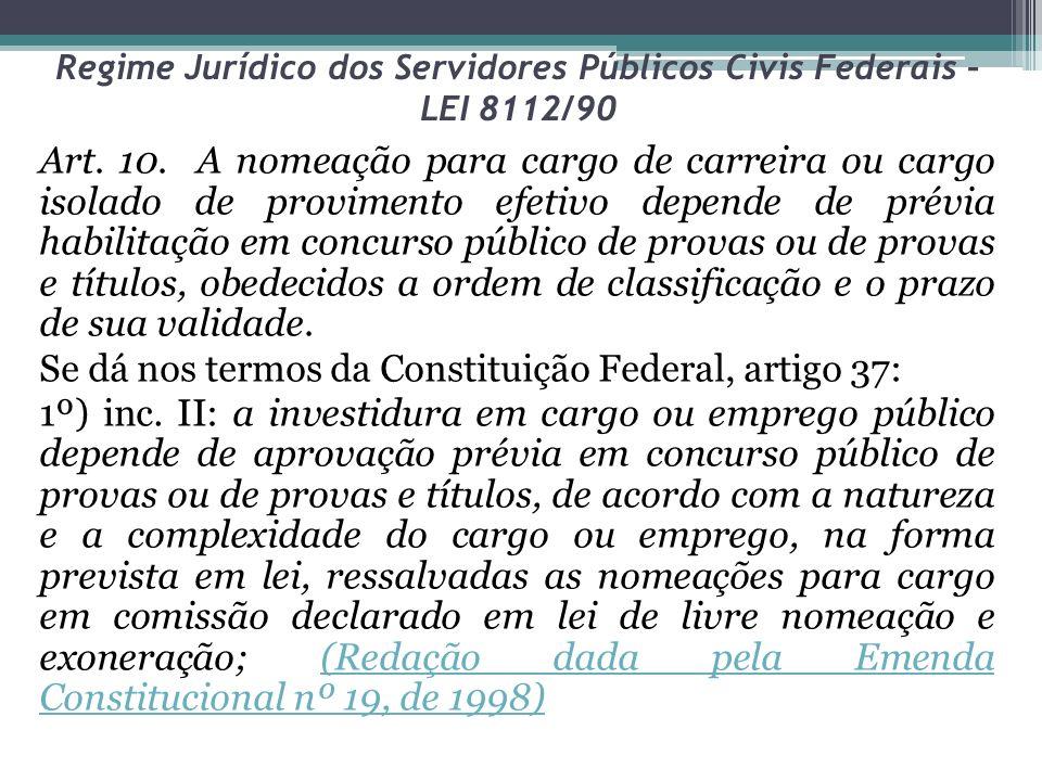 Regime Jurídico dos Servidores Públicos Civis Federais – LEI 8112/90 Art. 10. A nomeação para cargo de carreira ou cargo isolado de provimento efetivo