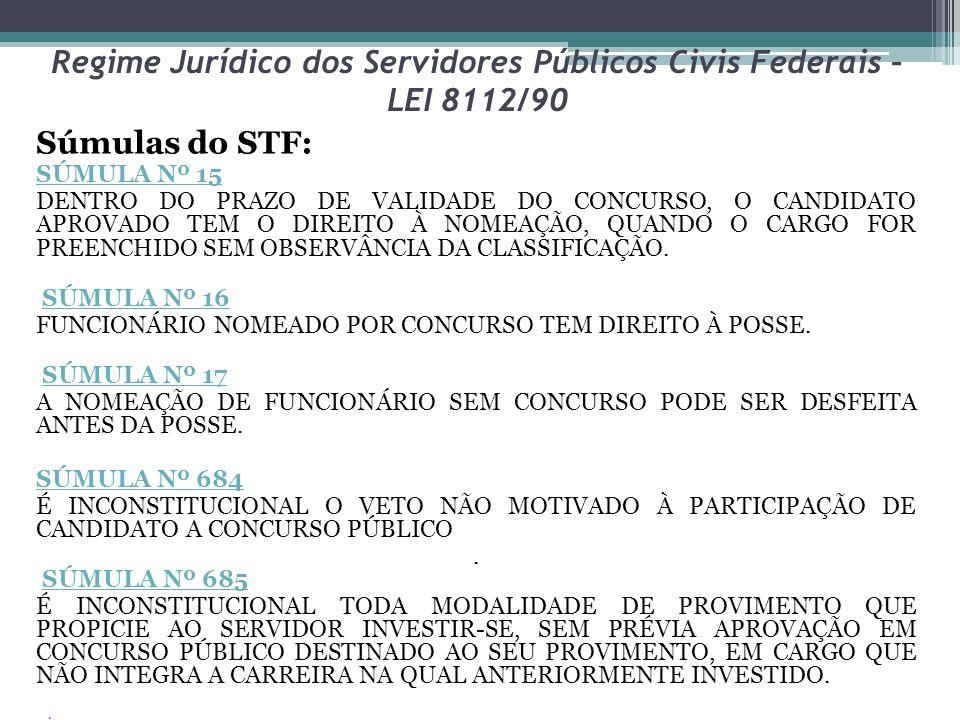 Regime Jurídico dos Servidores Públicos Civis Federais – LEI 8112/90 Súmulas do STF: SÚMULA Nº 15 DENTRO DO PRAZO DE VALIDADE DO CONCURSO, O CANDIDATO