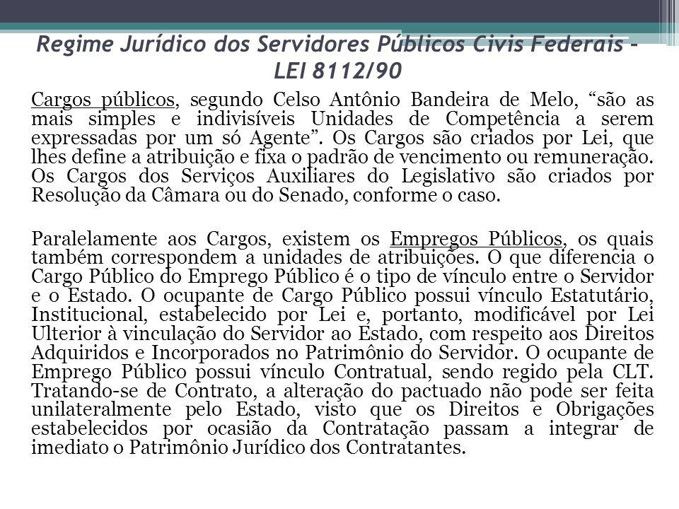 Regime Jurídico dos Servidores Públicos Civis Federais – LEI 8112/90 Cargos públicos, segundo Celso Antônio Bandeira de Melo, são as mais simples e in