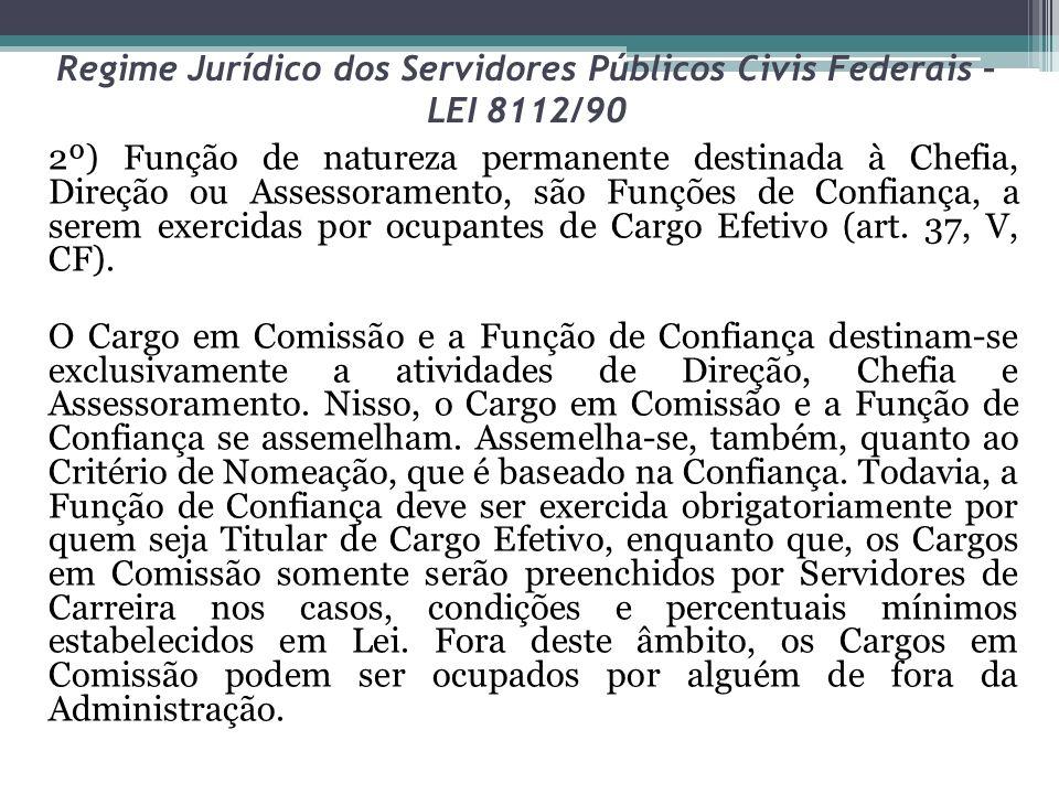 Regime Jurídico dos Servidores Públicos Civis Federais – LEI 8112/90 2º) Função de natureza permanente destinada à Chefia, Direção ou Assessoramento,