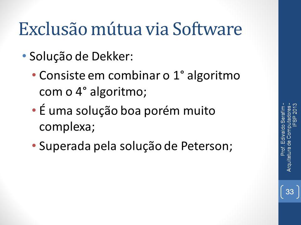 Exclusão mútua via Software Solução de Dekker: Consiste em combinar o 1° algoritmo com o 4° algoritmo; É uma solução boa porém muito complexa; Superada pela solução de Peterson; Prof.