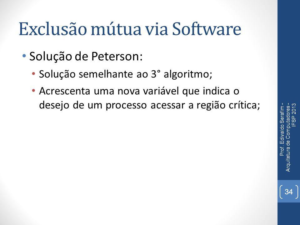 Exclusão mútua via Software Solução de Peterson: Solução semelhante ao 3° algoritmo; Acrescenta uma nova variável que indica o desejo de um processo acessar a região crítica; Prof.