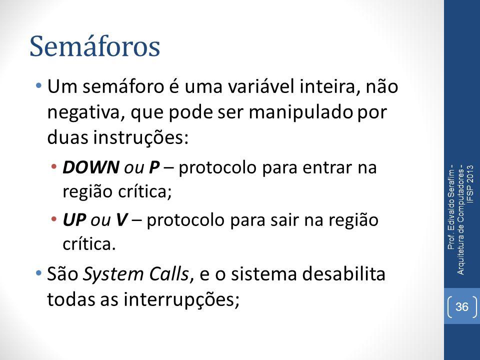 Semáforos Um semáforo é uma variável inteira, não negativa, que pode ser manipulado por duas instruções: DOWN ou P – protocolo para entrar na região crítica; UP ou V – protocolo para sair na região crítica.