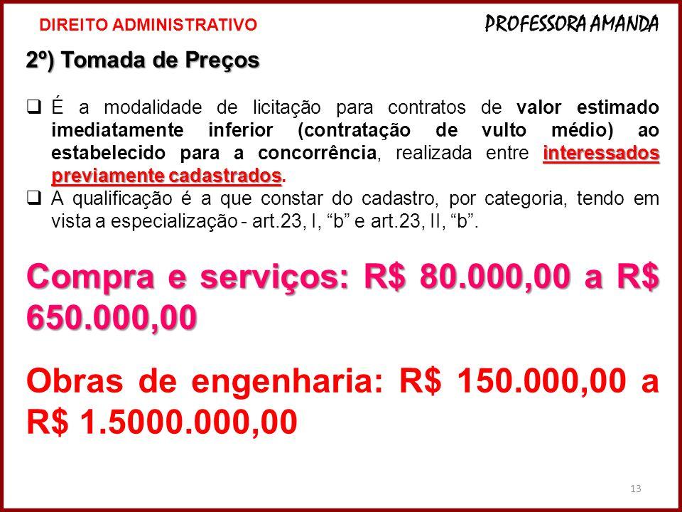 13 2º) Tomada de Preços interessados previamente cadastrados É a modalidade de licitação para contratos de valor estimado imediatamente inferior (cont