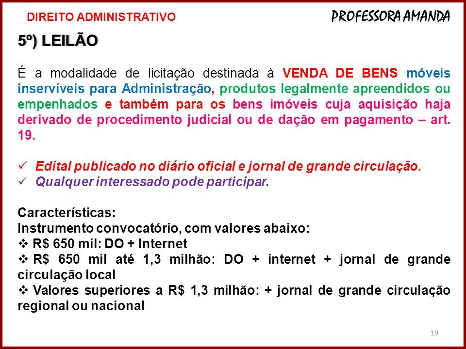 19 5º) LEILÃO5º) LEILÃO É a modalidade de licitação destinada à VENDA DE BENS móveis inservíveis para Administração, produtos legalmente apreendidos o