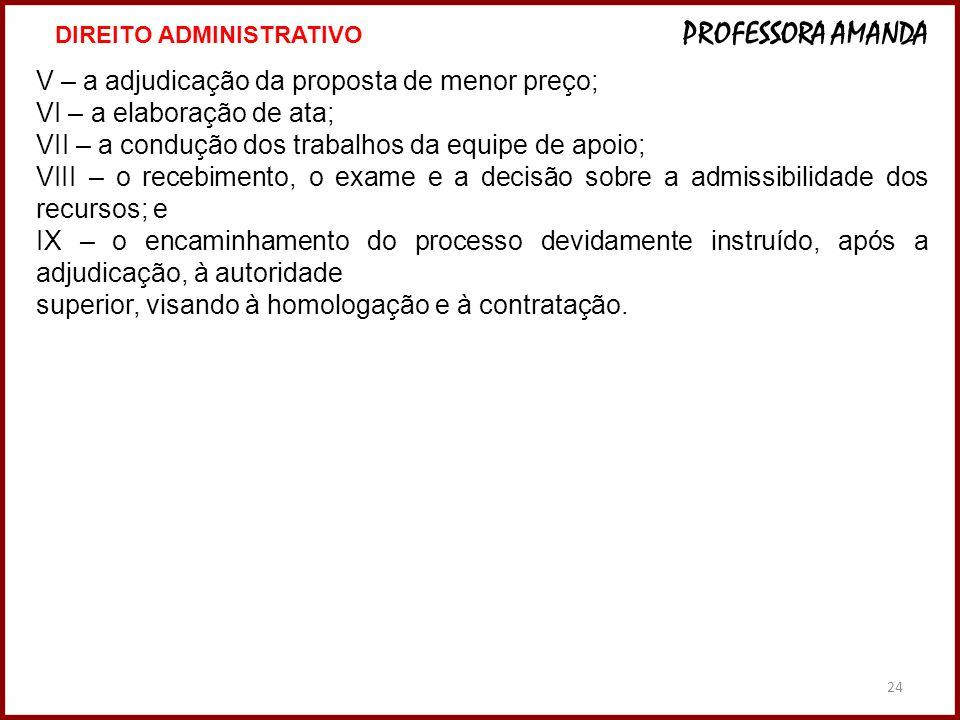 24 V – a adjudicação da proposta de menor preço; VI – a elaboração de ata; VII – a condução dos trabalhos da equipe de apoio; VIII – o recebimento, o