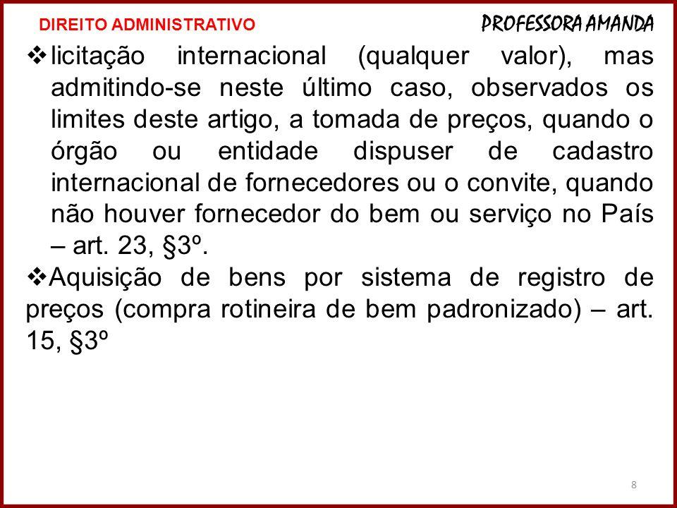 8 licitação internacional (qualquer valor), mas admitindo-se neste último caso, observados os limites deste artigo, a tomada de preços, quando o órgão