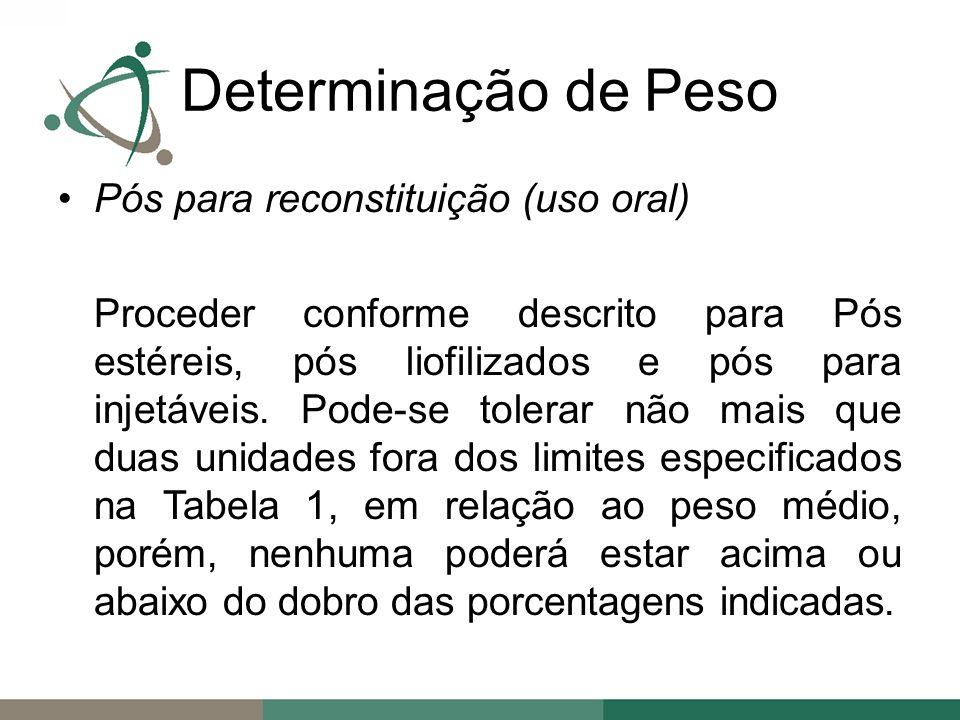 Pós para reconstituição (uso oral) Proceder conforme descrito para Pós estéreis, pós liofilizados e pós para injetáveis.