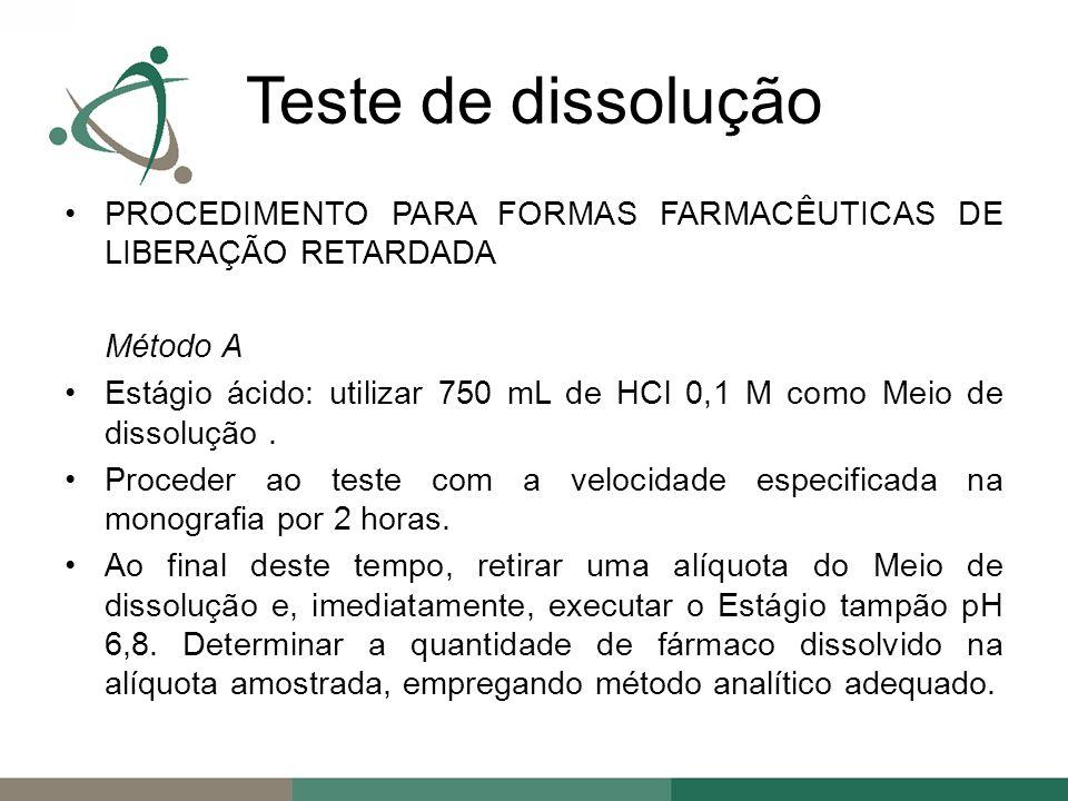 PROCEDIMENTO PARA FORMAS FARMACÊUTICAS DE LIBERAÇÃO RETARDADA Método A Estágio ácido: utilizar 750 mL de HCl 0,1 M como Meio de dissolução.