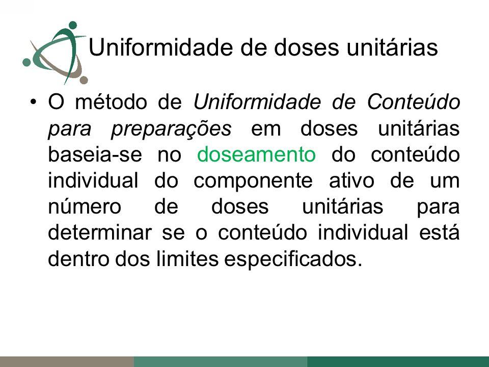 O método de Uniformidade de Conteúdo para preparações em doses unitárias baseia-se no doseamento do conteúdo individual do componente ativo de um número de doses unitárias para determinar se o conteúdo individual está dentro dos limites especificados.