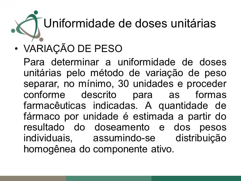VARIAÇÃO DE PESO Para determinar a uniformidade de doses unitárias pelo método de variação de peso separar, no mínimo, 30 unidades e proceder conforme descrito para as formas farmacêuticas indicadas.