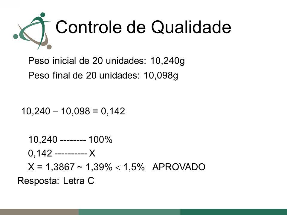Peso inicial de 20 unidades: 10,240g Peso final de 20 unidades: 10,098g 10,240 – 10,098 = 0,142 10,240 -------- 100% 0,142 ---------- X X = 1,3867 ~ 1,39% 1,5% APROVADO Resposta: Letra C Controle de Qualidade