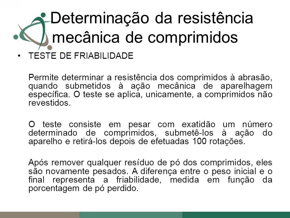 TESTE DE FRIABILIDADE Permite determinar a resistência dos comprimidos à abrasão, quando submetidos à ação mecânica de aparelhagem específica.