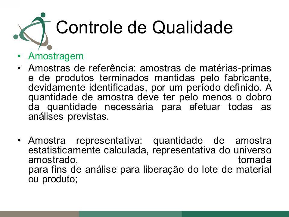 Amostragem Amostras de referência: amostras de matérias-primas e de produtos terminados mantidas pelo fabricante, devidamente identificadas, por um período definido.