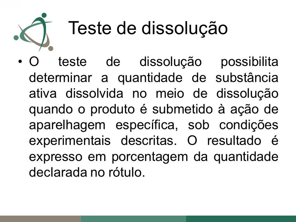 O teste de dissolução possibilita determinar a quantidade de substância ativa dissolvida no meio de dissolução quando o produto é submetido à ação de aparelhagem específica, sob condições experimentais descritas.