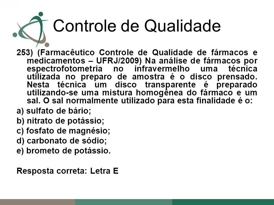 253) (Farmacêutico Controle de Qualidade de fármacos e medicamentos – UFRJ/2009) Na análise de fármacos por espectrofotometria no infravermelho uma técnica utilizada no preparo de amostra é o disco prensado.