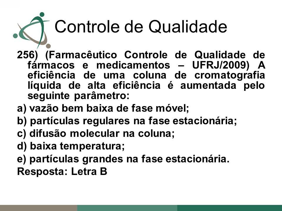 256) (Farmacêutico Controle de Qualidade de fármacos e medicamentos – UFRJ/2009) A eficiência de uma coluna de cromatografia líquida de alta eficiência é aumentada pelo seguinte parâmetro: a) vazão bem baixa de fase móvel; b) partículas regulares na fase estacionária; c) difusão molecular na coluna; d) baixa temperatura; e) partículas grandes na fase estacionária.