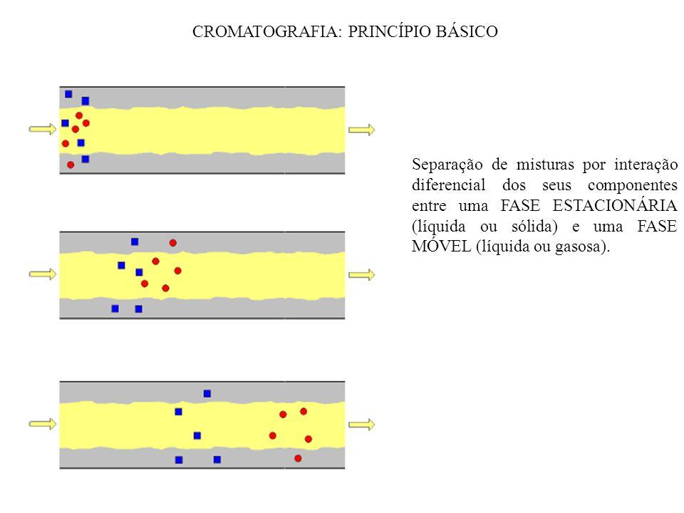 CROMATOGRAFIA: PRINCÍPIO BÁSICO Separação de misturas por interação diferencial dos seus componentes entre uma FASE ESTACIONÁRIA (líquida ou sólida) e uma FASE MÓVEL (líquida ou gasosa).