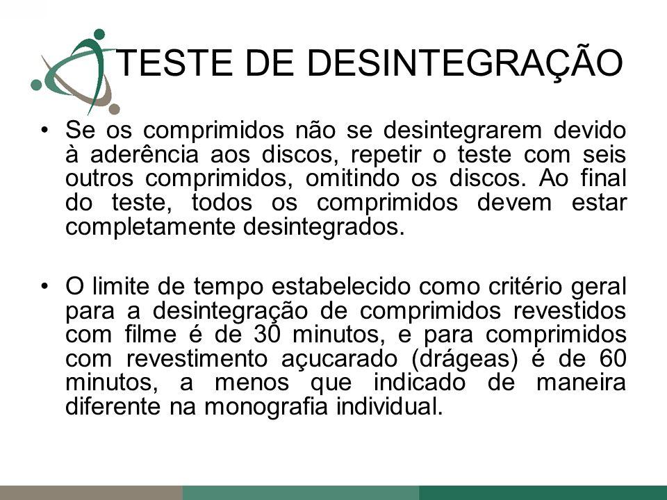 Se os comprimidos não se desintegrarem devido à aderência aos discos, repetir o teste com seis outros comprimidos, omitindo os discos.