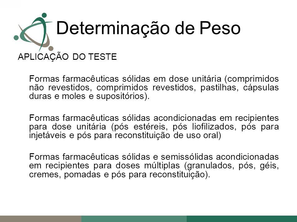 APLICAÇÃO DO TESTE Formas farmacêuticas sólidas em dose unitária (comprimidos não revestidos, comprimidos revestidos, pastilhas, cápsulas duras e moles e supositórios).