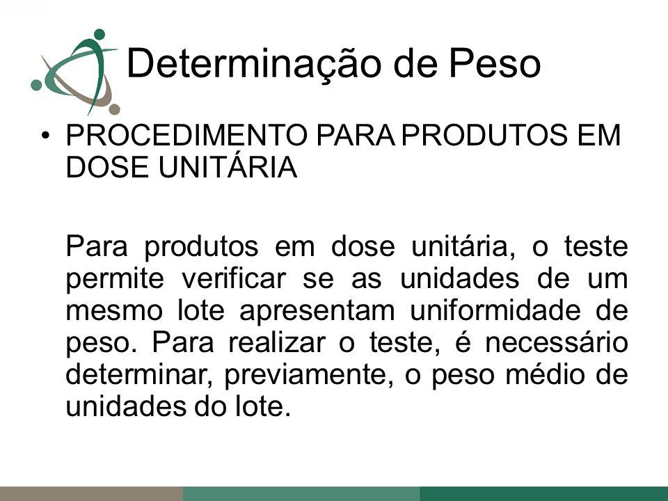 PROCEDIMENTO PARA PRODUTOS EM DOSE UNITÁRIA Para produtos em dose unitária, o teste permite verificar se as unidades de um mesmo lote apresentam uniformidade de peso.
