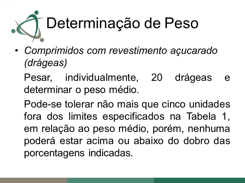 Comprimidos com revestimento açucarado (drágeas) Pesar, individualmente, 20 drágeas e determinar o peso médio.