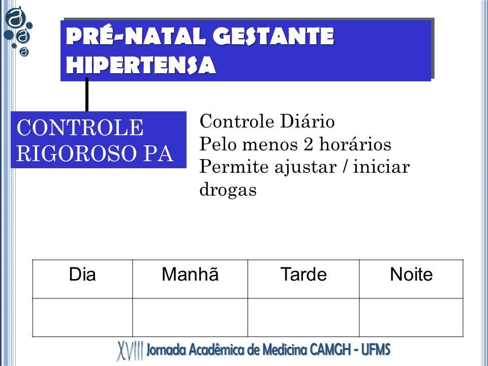 PRÉ-NATAL GESTANTE HIPERTENSA CONTROLE RIGOROSO PA Controle Diário Pelo menos 2 horários Permite ajustar / iniciar drogas DiaManhãTardeNoite