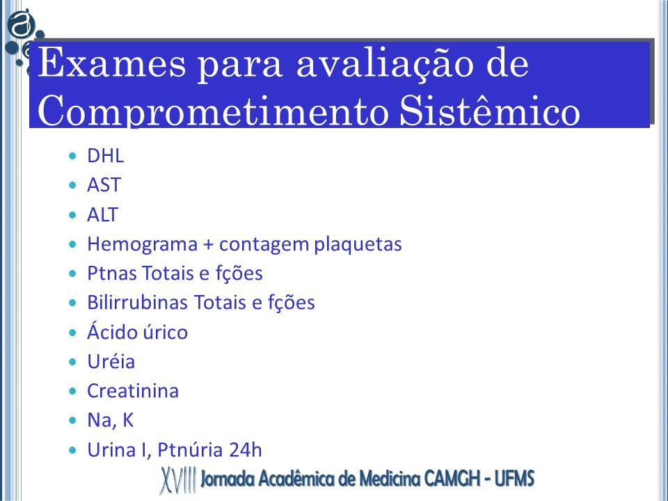 DHL AST ALT Hemograma + contagem plaquetas Ptnas Totais e fções Bilirrubinas Totais e fções Ácido úrico Uréia Creatinina Na, K Urina I, Ptnúria 24h Ex
